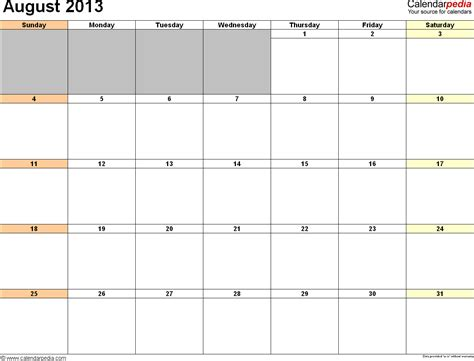 august 2013 calendar free templates for word excel pdf