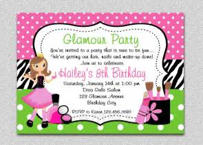 glamour birthday spa invitation glamour birthday