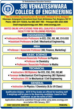 Mba Faculty Salary As Per Aicte Norms by Sri Venkateshwara College Of Engineering Bangalore