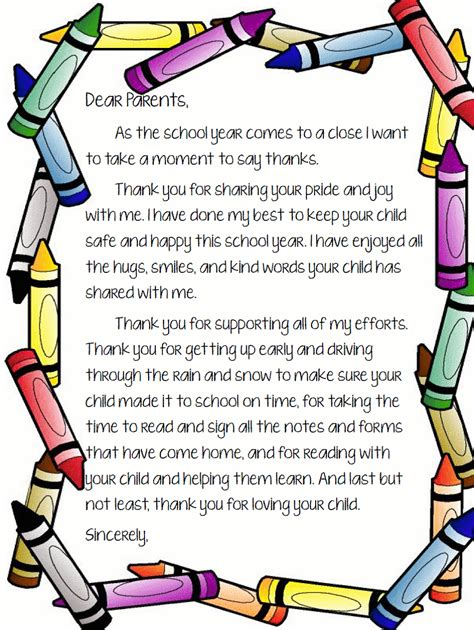 thank you letter to preschool from student end of school letter to parents pinteres
