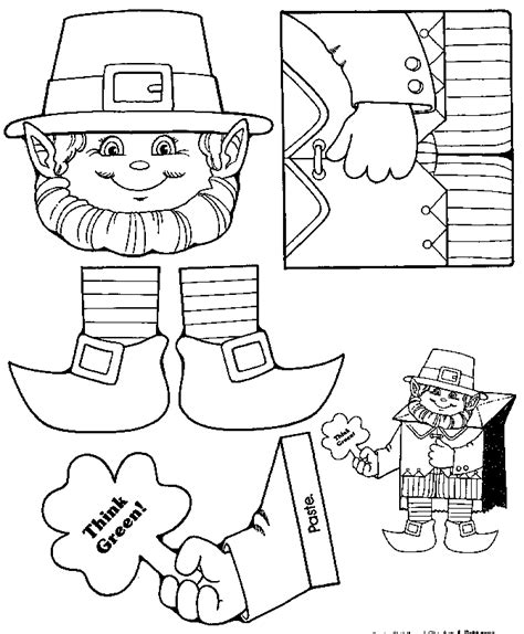 leprechaun pattern for kindergarten st patrick day crafts for toddlers coloring home