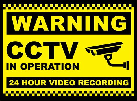 cctv recording 2x cctv in operation sign 24 hr recording security