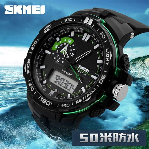 Jam Tangan Skmei Tenaga Surya Water Resistant 50m Ad1064e skmei jam tangan sport pria ad1081 black white jakartanotebook