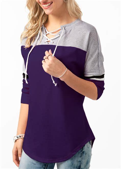Sleeve Lace Hem T Shirt sleeve lace up curved hem purple t shirt liligal