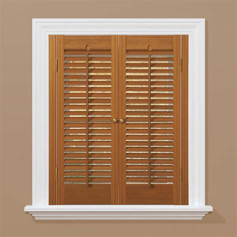 wooden shutters interior home depot homebasics traditional faux wood oak interior shutter