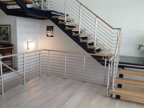 modern stair railing entry and staircases