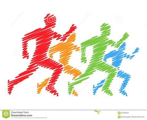 color marathon colored silhouettes of runners vector running and