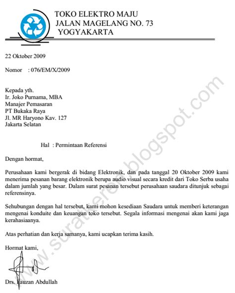 Contoh Surat Permintaan Produk by Contoh Surat Permintaan Penawaran Barang Produk