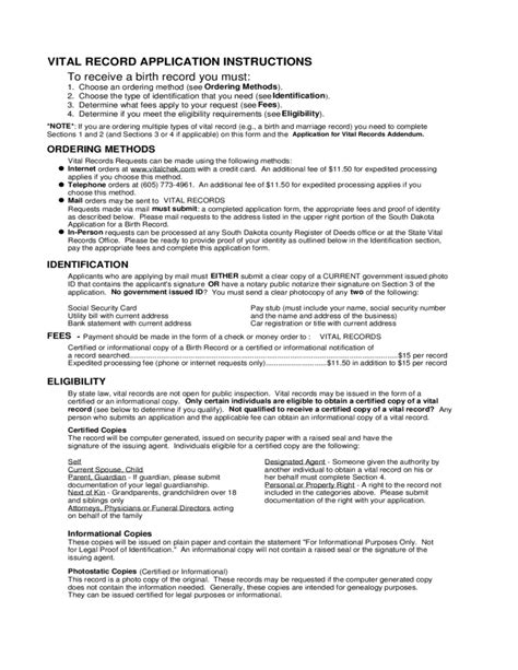 Application For Birth Record Application For A Birth Record South Dakota Free