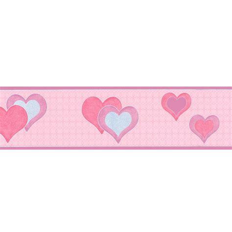 buy debona hearts wallpaper border pink silver