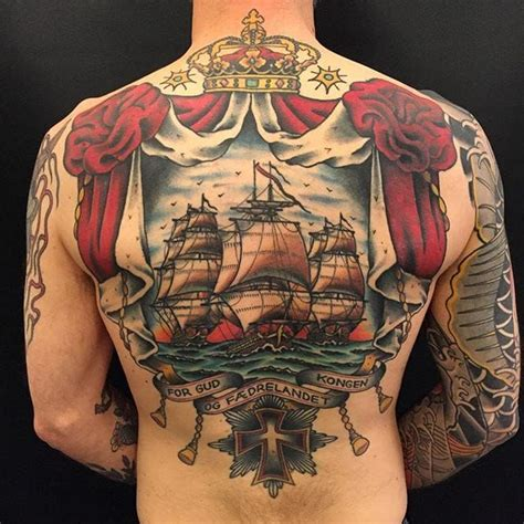 Zooki Tattoo Instagram | awesome ship back tattoo by zooki old school tattoo