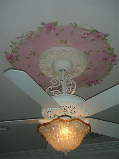 hand painted roses with green vines on ceiling white