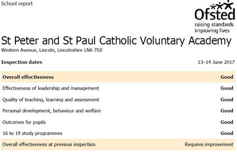 section 5 ofsted inspection st peter and st paul catholic voluntary academy st peter