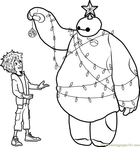 superhero christmas coloring page hiro and baymax christmas coloring page free big hero 6