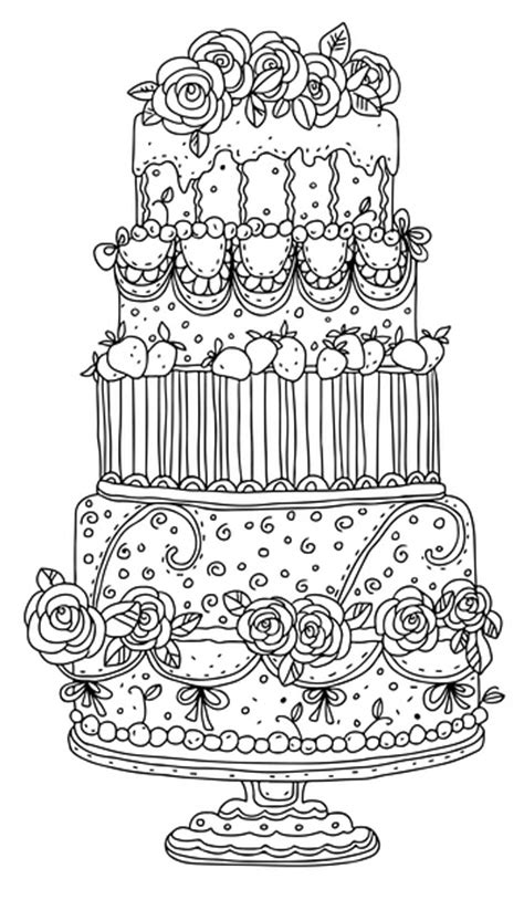 coloring pages wedding cakes beautiful wedding cake to the garden of peaches adult