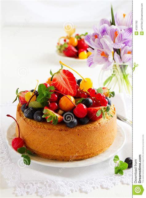 chiffon cake with summer berries stock photo image 47201762