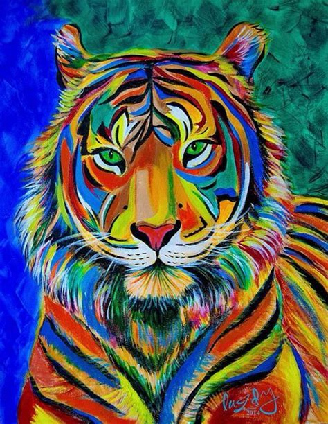 colorful painting quot guardian of aura quot tiger acrylic painting abstract