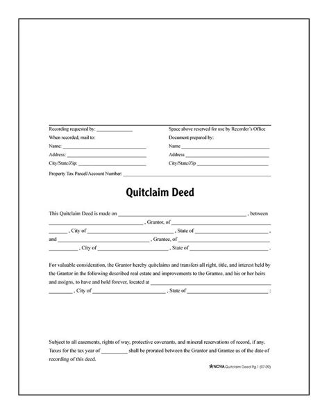 quitclaim deed forms and instructions