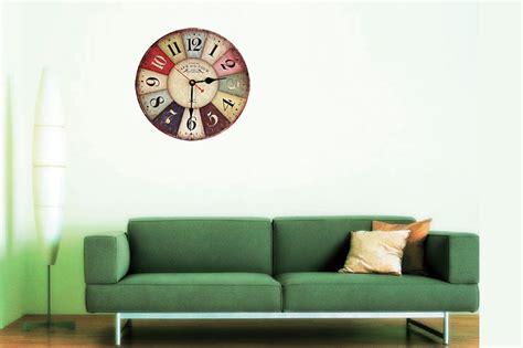 Jam Dinding Vintage Retro Tebal 9mm 1 silent colorful wooden decorative wall clock retro vintage style