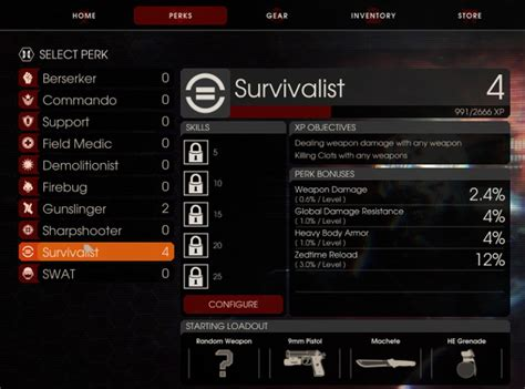 killing floor 2 perks
