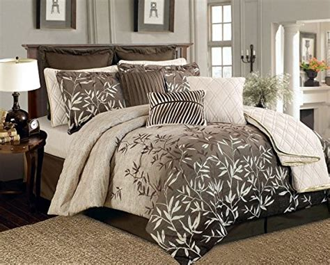bamboo bedding set brown and beige bamboo leaves tropical comforter set