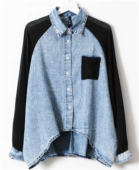 denim sleeve blouse blue contrast black chiffon batwing sleeve denim blouse