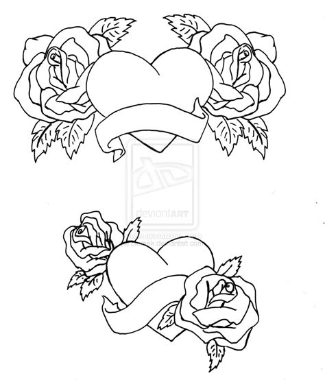 Hearts And Roses By Biomek On Deviantart Roses And Hearts Coloring Pages 2