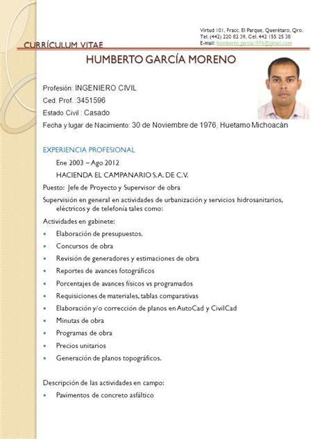 Modelo Curriculum Ingeniero Civil Como Redactar Un Curr 237 Culum De Ingeniero Civil Ejemplos De