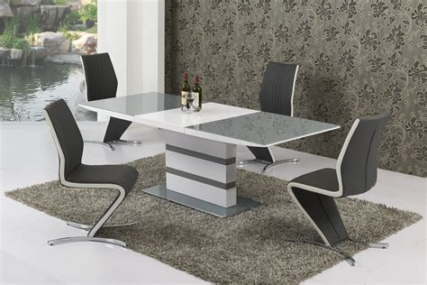 small extending grey glass high gloss dining table
