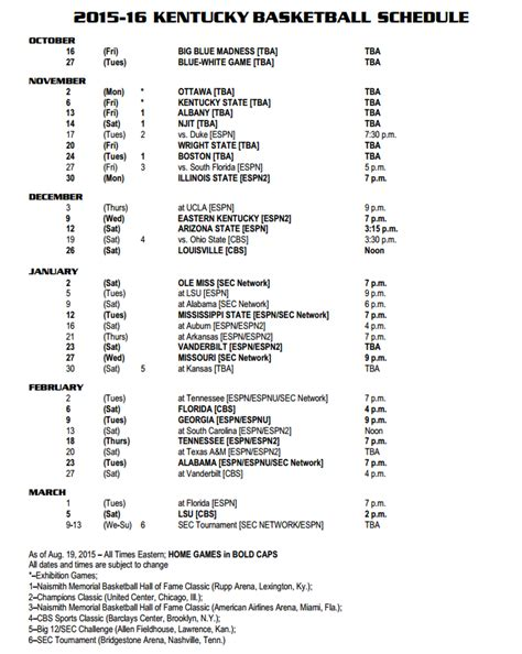 printable uk basketball schedule 2015 university of kentucky calendar 2015 2016 search results