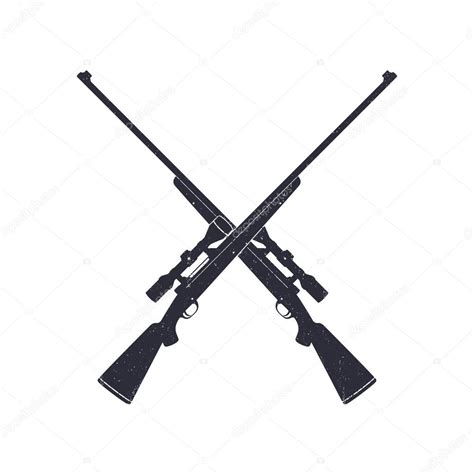 crossed hunting rifles with grunge texture stock vector