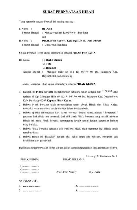 Contoh Surat Hibah Wasiat Suratmenyuratnet