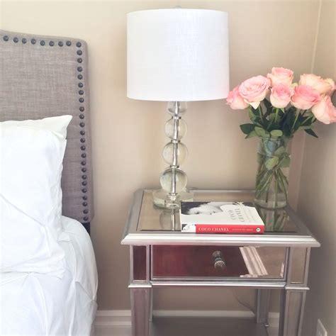 mirrored night stands bedroom guest bedroom grey headboard with stud detail edging