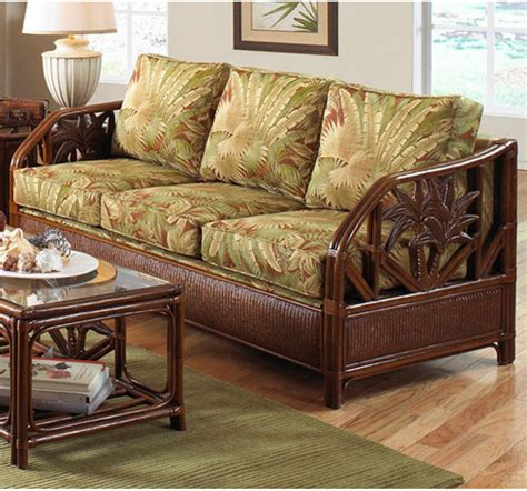 cancun palm tropical rattan and wicker 4 piece bedroom cancun palm tropical indoor natural rattan and wicker sofa