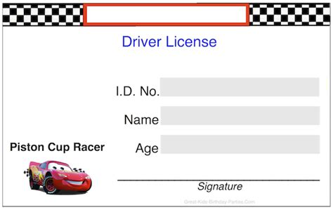 drivers license template disney cars birthday