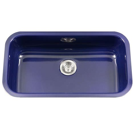 Blue Kitchen Sink Houzer Porcela Series Undermount Porcelain Enamel Steel 31 In Large Single Basin Kitchen Sink