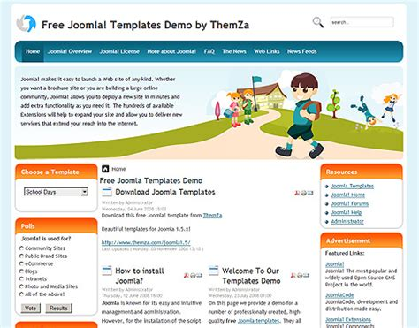 template joomla school free school days free joomla template from themza