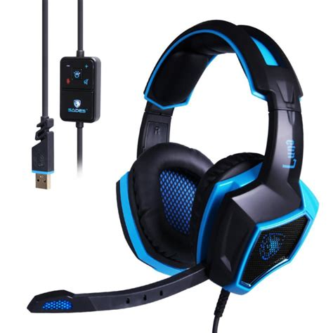 Headset Mic Gaming sades 7 1 surround sound stereo usb wired pc gaming