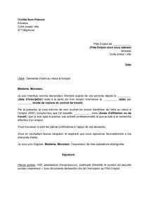 Mod Le De Lettre De Demande D Emploi Dans Une Banque demande d emploi lettre type gratuite employment application
