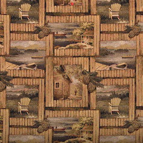 cabin upholstery fabric rustic cabin fishing boat chair acorns tapestry upholstery