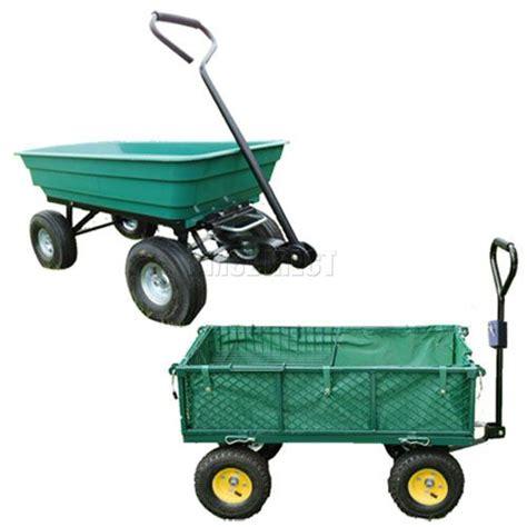 Garden Trucking by Heavy Duty 4 Wheel Garden Utility Trolley Cart Tipper Dump