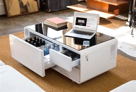 table behind sofa called this coffee table doubles as a fridge simplemost