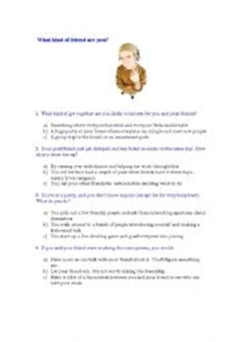 printable quiz what kind of friend are you english teaching worksheets friendship