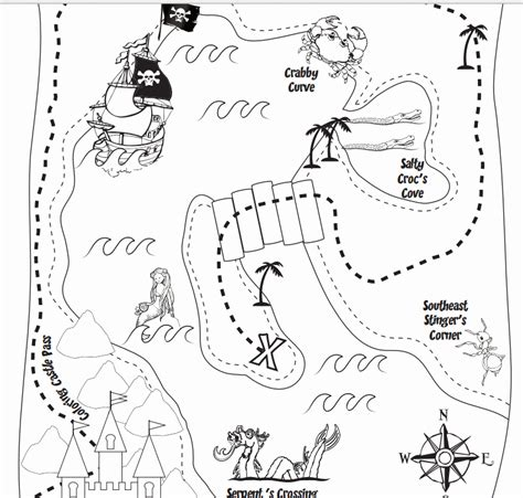 Treasure Map Coloring Pages For Kids Az Coloring Pages Treasure Map For Coloring