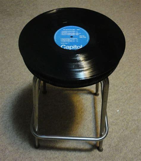 simple stool turned vinyl record side table