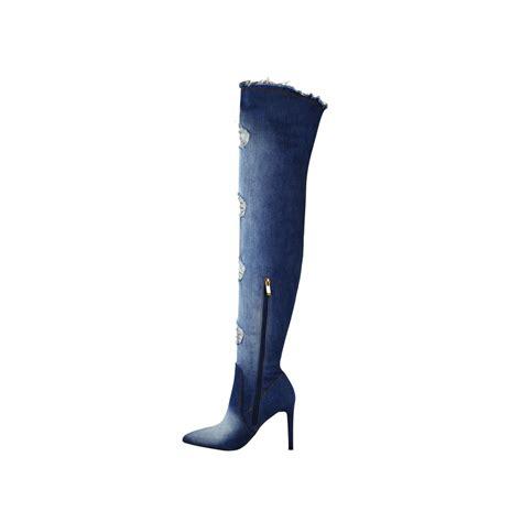 light blue stiletto high heel thigh high rip denim stretch