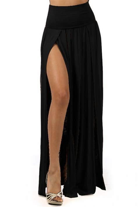 black jersey slit maxi skirt skirt maxi skirt