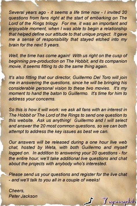 Letter Hobbit An Chat With Pj And Gdt Hobbit