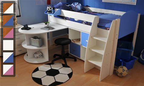 Cabin Bed With Desk And Futon by Stompa Rondo 6 Mid Sleeper Cabin Bed With Pull Out Desk