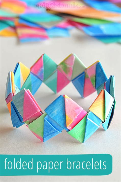 How To Make Bracelets Out Of Paper - how to make folded paper bracelets picklebums